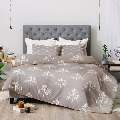 Queen Linear Trees Comforter Set Neutral - Deny Designs
