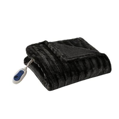 Electric Duke Faux Fur Throw (50 x70 )Black - Beautyrest