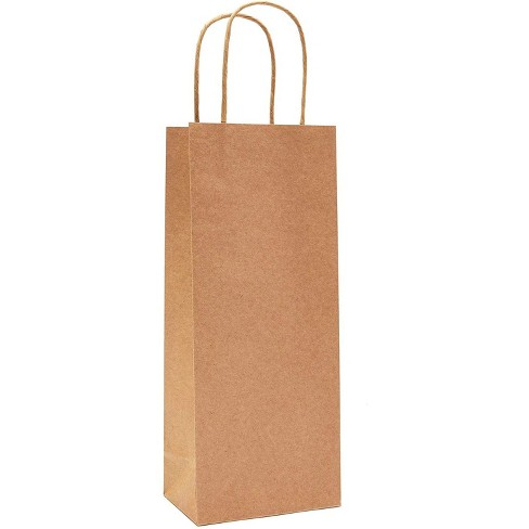 50-Pack Wine Gift Bag, Brown Kraft Paper Wine Bags for Gifting Bottle of Wine, Sturdy Carrier Holder with Handle Great for Wedding Birthday & Parties - image 1 of 2