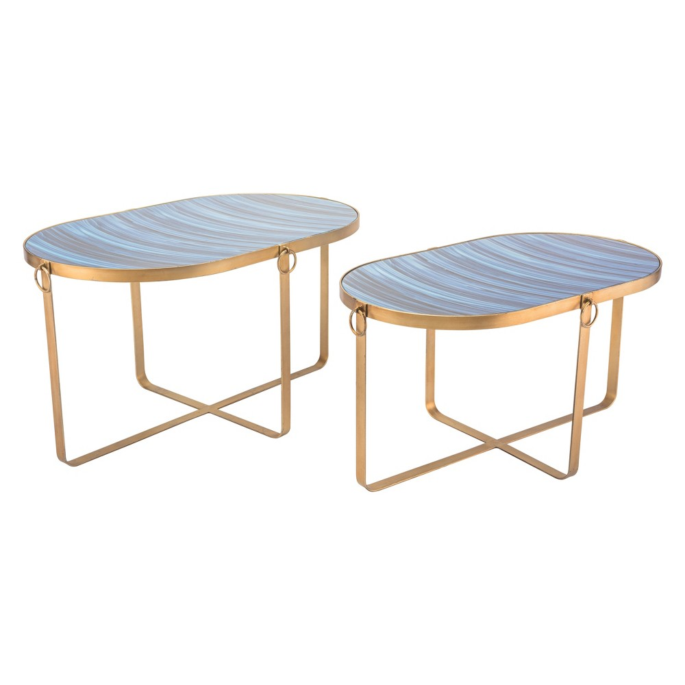 Printed Faux Saphire Oval Tables (set Of 2) - Blue & Antique Gold - ZM Home, Blue & Gold