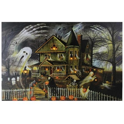 "Northlight LED Lighted Creepy Haunted House Halloween Canvas Wall Art 12"" x 15.75"""