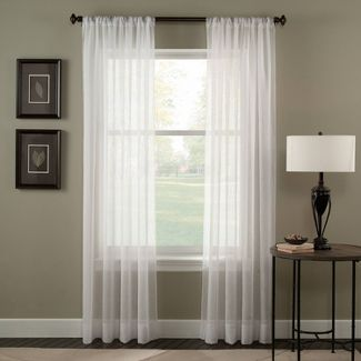 "120""x51"" Trinity Crinkle Voile Sheer Curtain Panel White - Curtainworks"