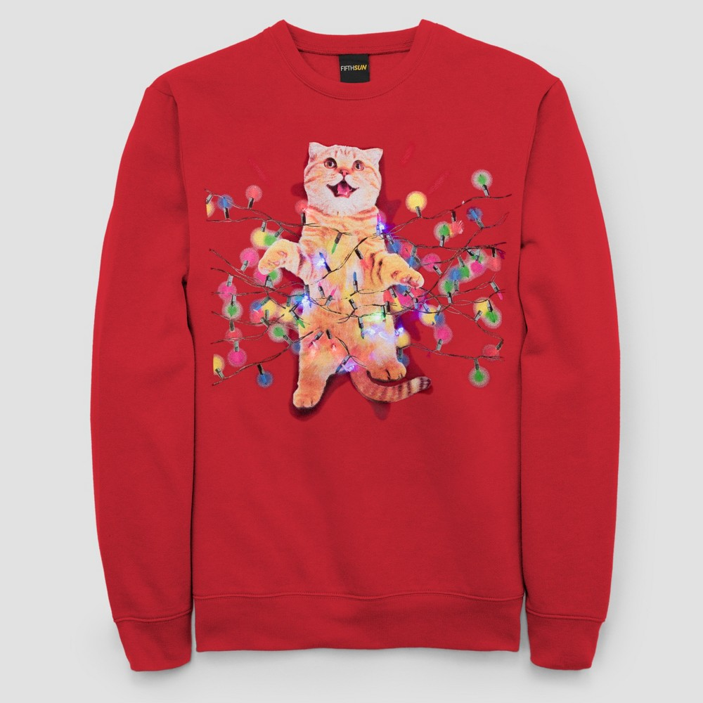 Men's Tall Ugly Holiday Cats in Lights with Led Lights Long Sleeve Pullover Sweater - Red 5XLT