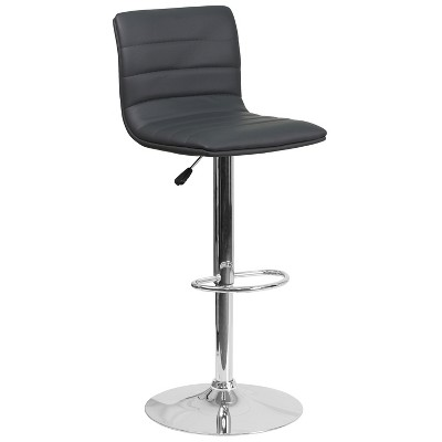 Flash Furniture Modern Vinyl Adjustable Height Barstool with Horizontal Stitch Back