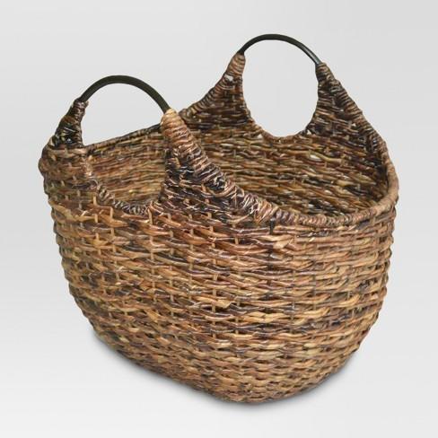 Wicker Oval Market Basket - Dark Global Brown - Threshold™ - image 1 of 1