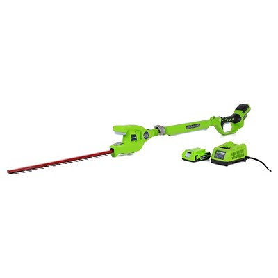 Greenworks G24 24V Cordless 20  Extended Reach Hedge Trimmer with 2.0AH Battery and Charger