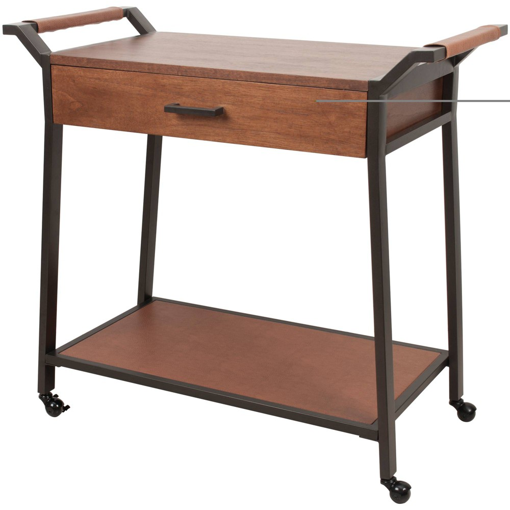 Industrial Kitchen Cart with Drawer Black - Silverwood