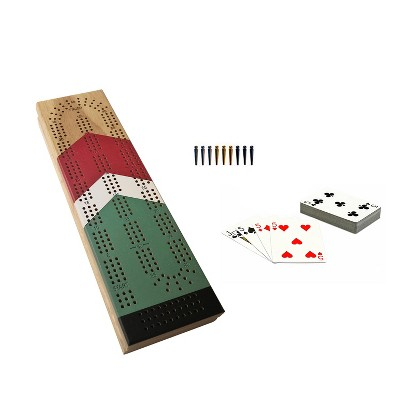 WE Games Cabinet Cribbage Set - Nautical Print - Solid Wood Continuous 3 Track Board with Easy Grip Pegs, Cards and Storage Area