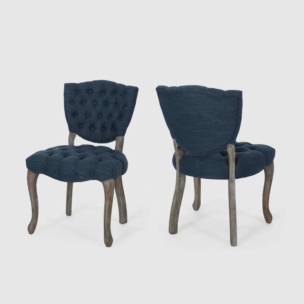 Set of 2 Crosswind Tufted Dining Chair Navy Blue - Christopher Knight Home was $349.99 now $244.99 (30.0% off)