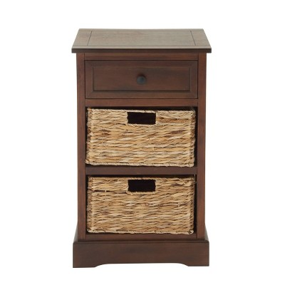 Wooden Side Chest with Wicker Drawers Brown - Olivia & May