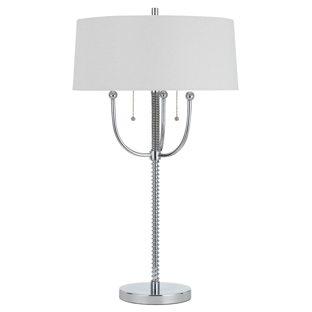 Image of Lesina Metal Floor Lamp With Linen Shade 60w X 2 Chrome (Includes Energy Efficient Light Bulb) - Cal Lighting