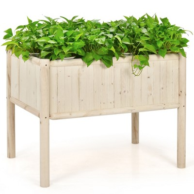 Costway Raised Garden Bed 42''x30''x32'' Elevated Wood Planter Box Stand Patio Yard