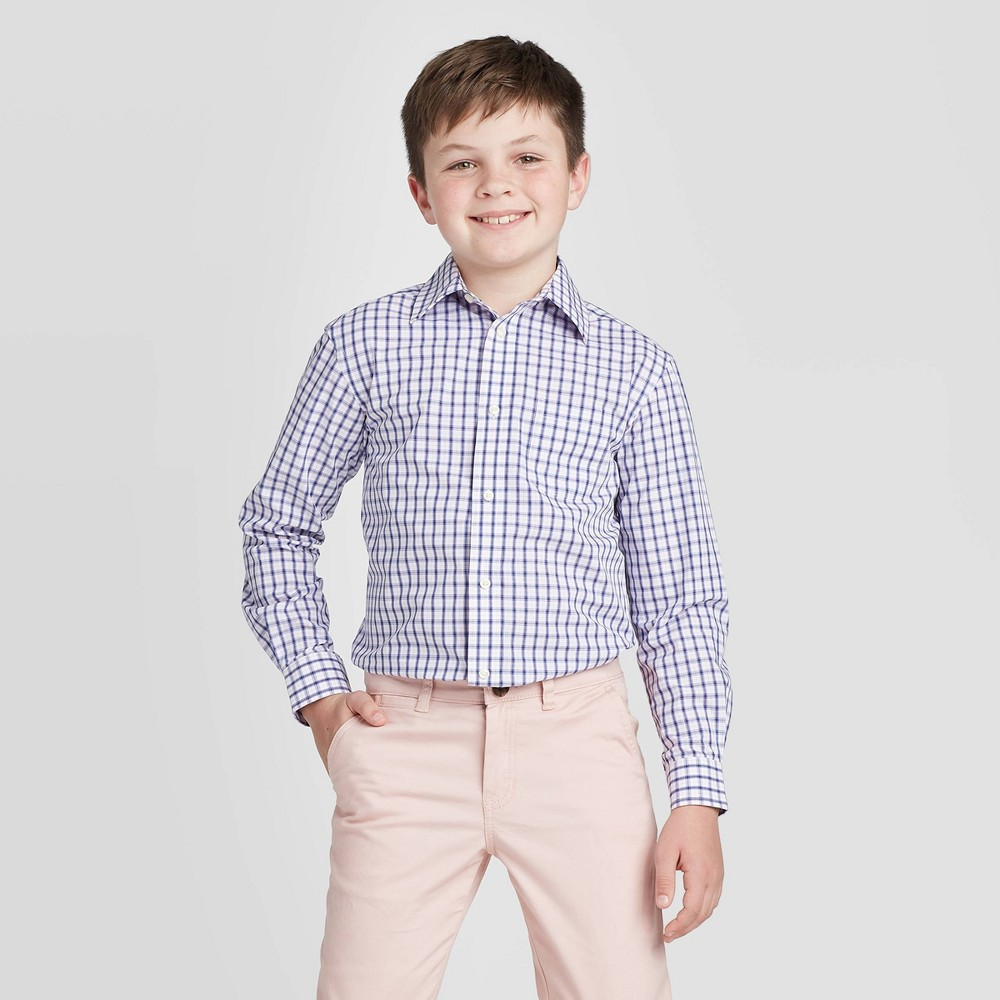 Image of Boys' Long Sleeve Button-Down Suiting Shirt - Cat & Jack White/Navy S, Boy's, Size: Small, Blue Pink
