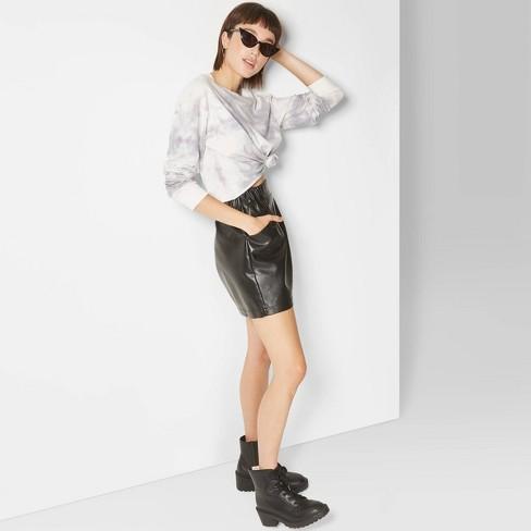 Women's Tie Dye Long Sleeve Crewneck Boxy T-Shirt - Wild Fable™ Gray/White - image 1 of 3