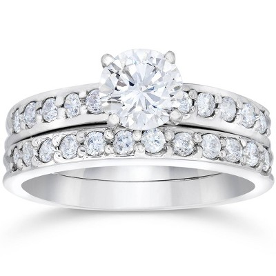 Pompeii3 1 Carat Diamond Engagement Ring Matching Wedding Band Prong Set 14K White Gold