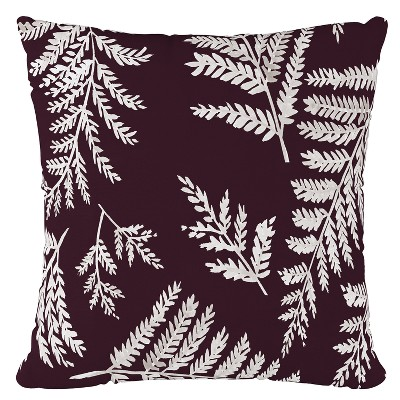 Plum Leaf Print Throw Pillow - Skyline Furniture