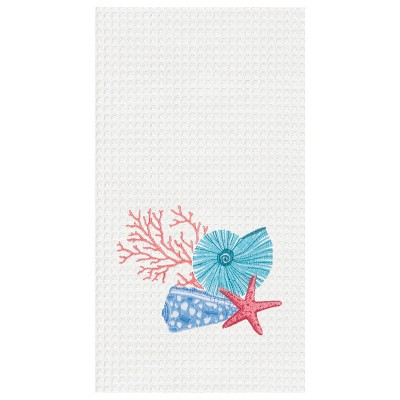 C&F Home Multi Shell Waffle Weave Embroidered Cotton Kitchen Towel