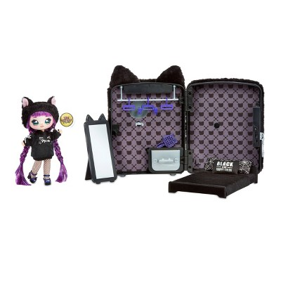 Na! Na! Na! Surprise 3-in-1 Backpack Bedroom Playset Black with Tuesday Meow Fashion Doll