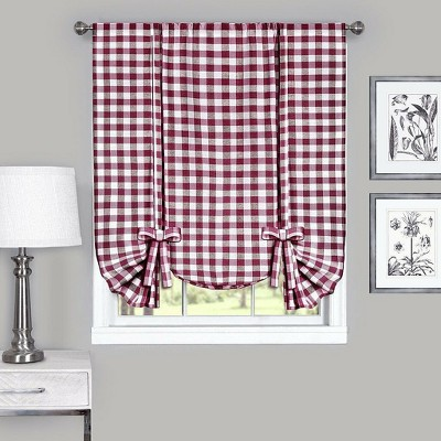 GoodGram Buffalo Check Plaid Gingham Tie Up Window Curtain Shades