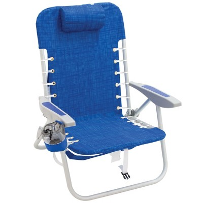 RIO Brands Portable Lightweight Aluminum Frame 4 Position Lace Up Folding Backpack Beach Lawn Patio Lounge Chair, Blue