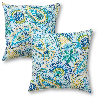 2pc Outdoor Throw Pillow Set - Blue/White/Green - Greendale Home Fashions