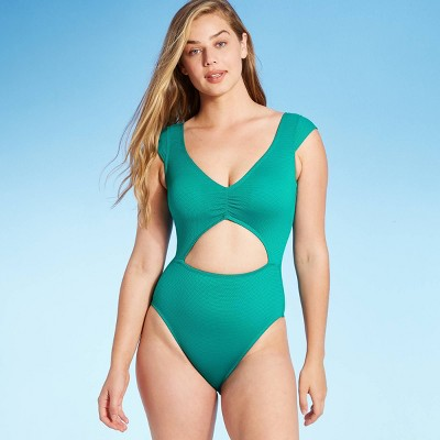 Women's Tall/Long Torso Cap Sleeve Cut Out Textured One Piece Swimsuit - Shade & Shore™ Waterfall