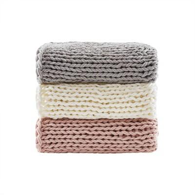 Chunky Double Knit Handmade Throw Blanket Blush