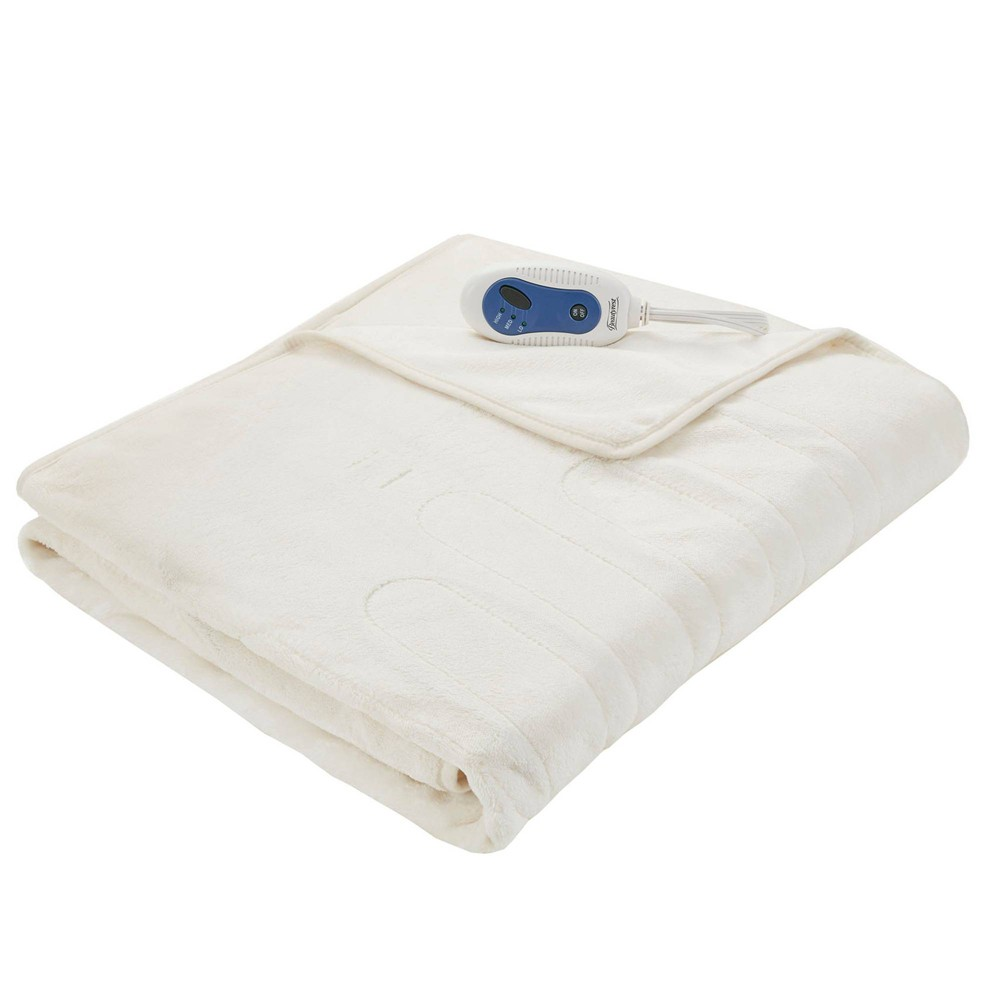 "Image of ""50"""" x 62"""" Plush Electric Throw Blanket with Foot Pocket Ivory"""