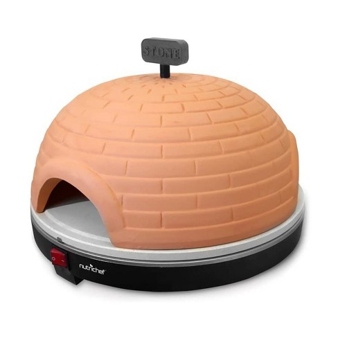NutriChef PKPZ950 1100 Watt Kitchen Electric Pit Mini Oven Countertop Pizza Maker Stove with Terracotta Lid Cover and Stone Clay Cooking Surface - image 1 of 4