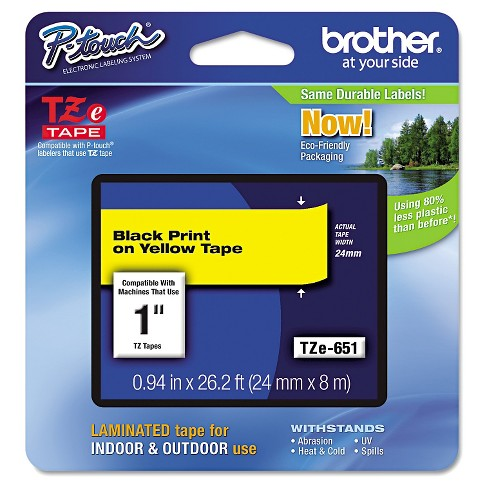 Brother P-Touch TZe Standard Adhesive Laminated Labeling Tape - Black/Yelllow - image 1 of 1