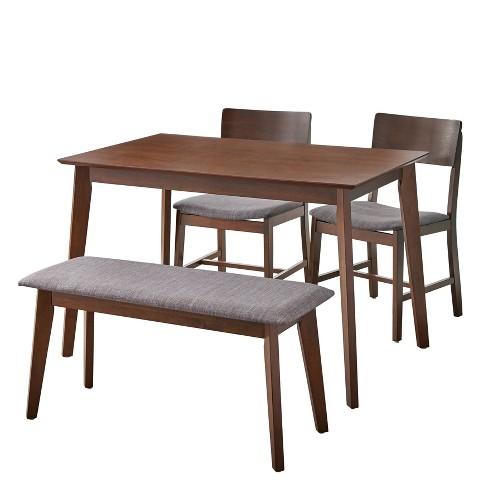 Terrific 4Pc Celeste Dining Set With Bench Walnut Buylateral Creativecarmelina Interior Chair Design Creativecarmelinacom