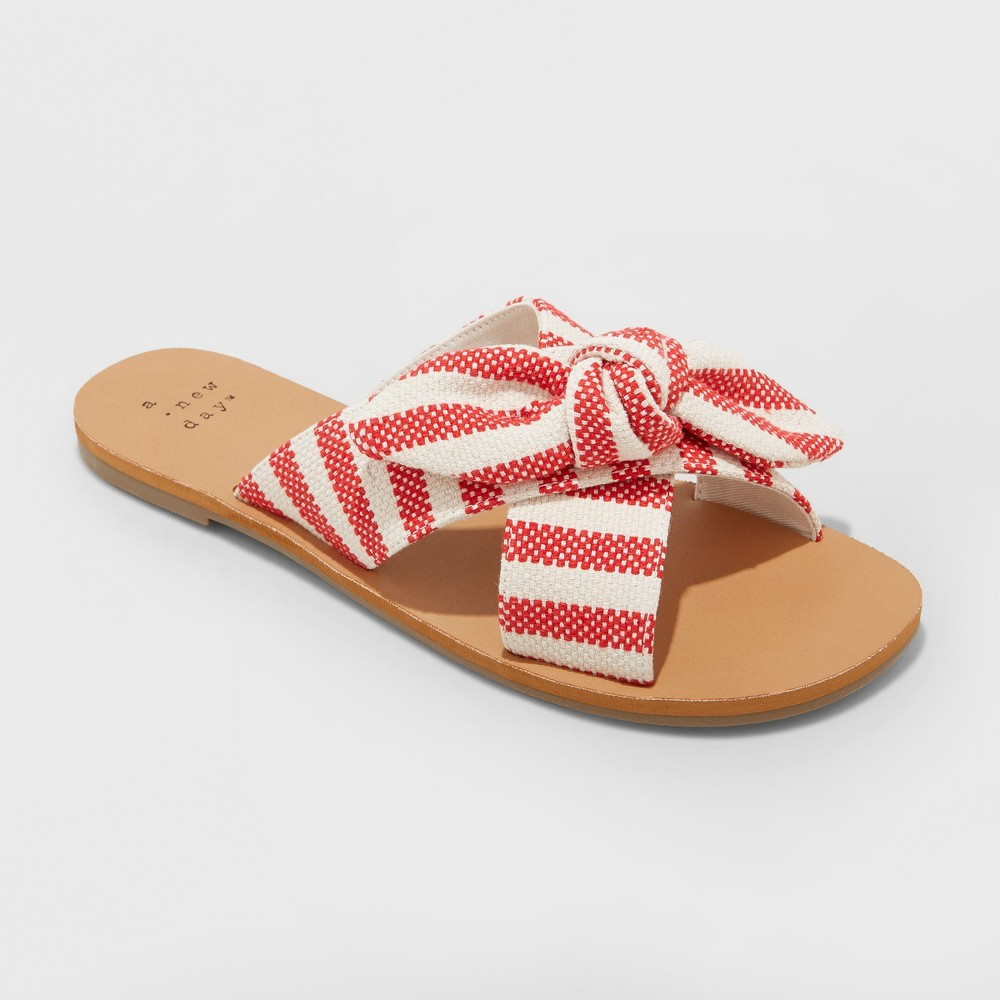 Women's Livia Striped Knotted Bow Slide Sandal - A New Day Red 7.5
