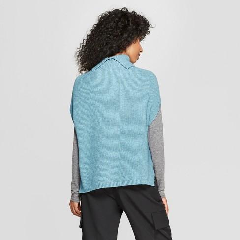 Women s Short Sleeve Turtleneck Tabard Sweater -...   Target 7fb519cb6