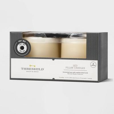 "2pk 3"" x 3"" LED Flameless Black Wick Candle Cream - Threshold™"