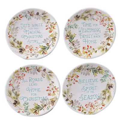 "6"" 4pk Earthenware Christmas Story Canape Plates - Certified International"