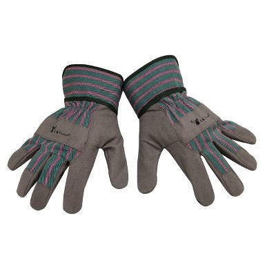 Synthetic Leather Kids' Garden Gloves Gray L - Justforkids