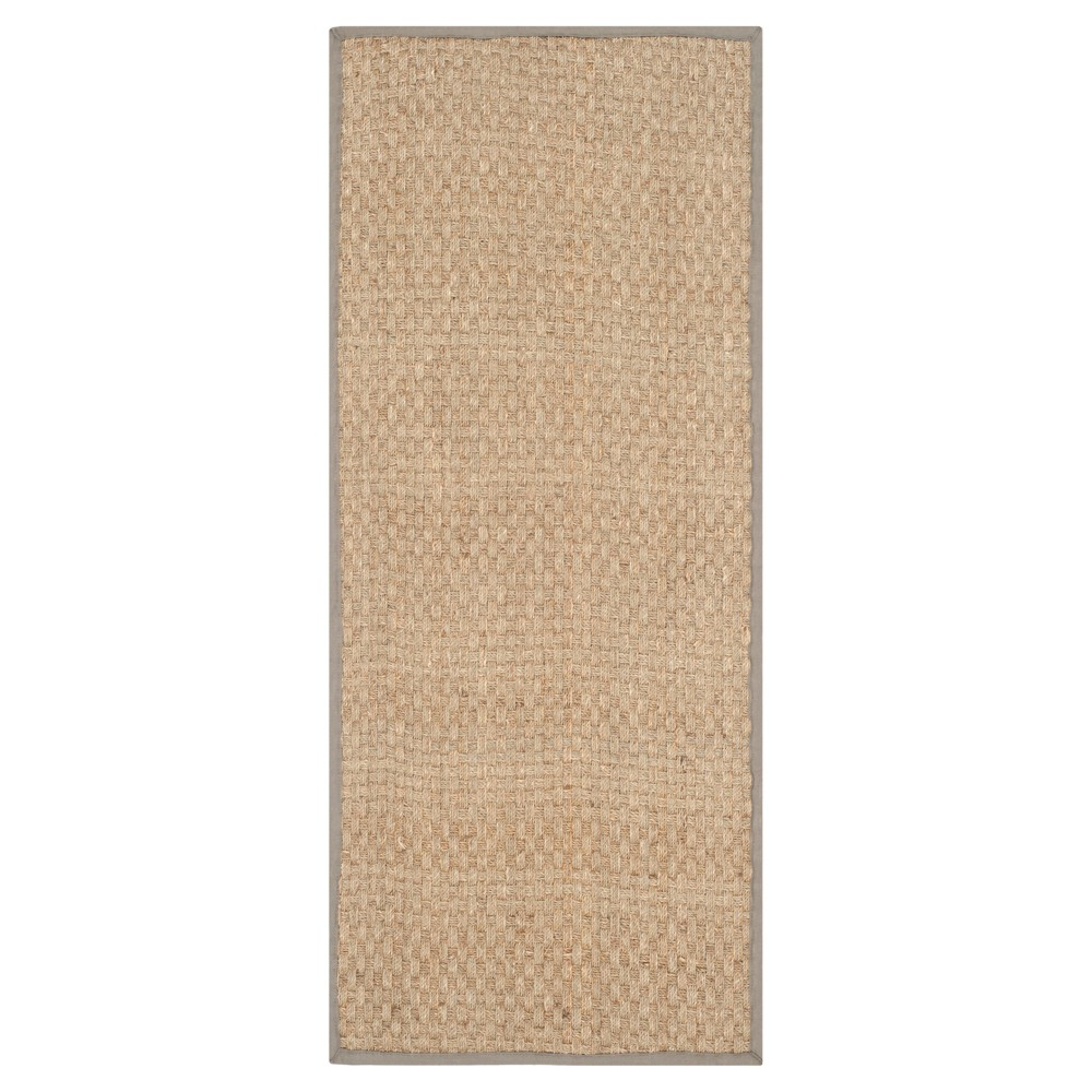 2'6X20' Basket Weave Runner Natural/Gray - Safavieh