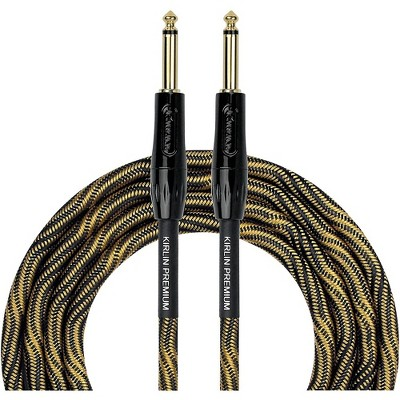 """KIRLIN IWB Black/Gold Woven Instrument Cable 1/4"""" Straight"""