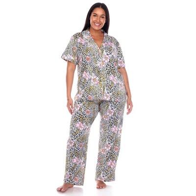 Women's Plus Size Short Sleeve Top and Pants Pajama Set - White Mark