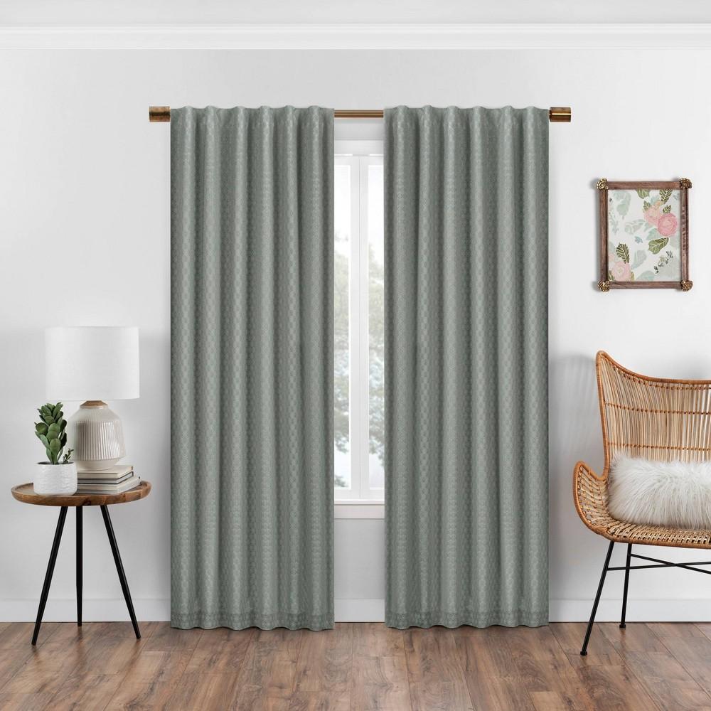 63x50 Nora Crochet Absolute Zero Blackout Window Panel Green - Eclipse