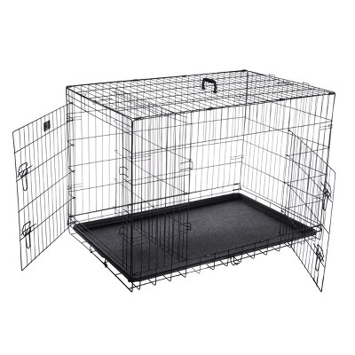"""Pet Adobe Portable Double Door Folding Crate for Dogs - 42"""" x 27"""", Black"""