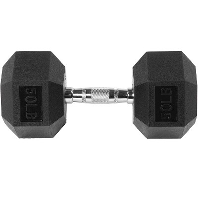 Sporzon! Exercise Equipment Rubber Encased Hexagon Handheld Weight Dumbbells with Contoured Non Slip Handles for Home Fitness, Single 50 Pounds