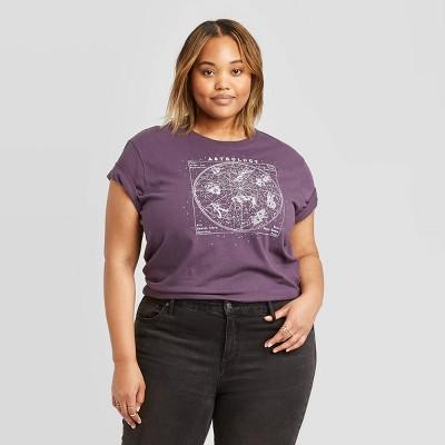 Women's Plus Size Astrology Short Sleeve Graphic T-Shirt - Fifth Sun (Juniors')- Vintage Black 2X
