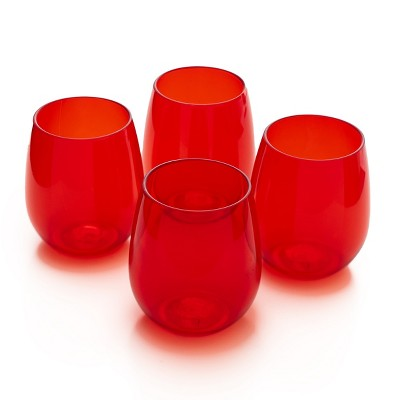 Lakeside Reusable Plastic Glasses - Outdoor Cocktail Drinking Glasses - Set of 4