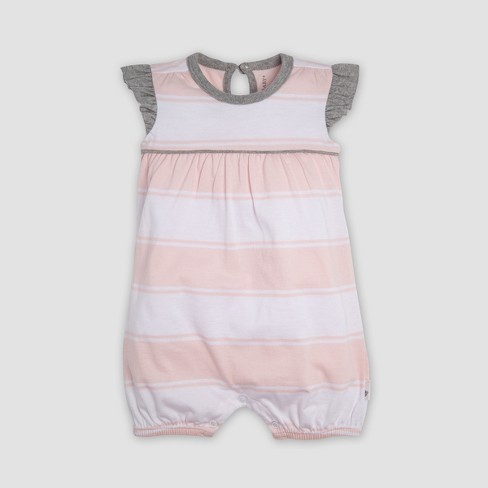 b7d8c776966 Burt s Bees Baby® Baby Girls  2pk Organic Cotton Rugby Peace Stripe Bubble  Romper Set - Heather Gray   Target