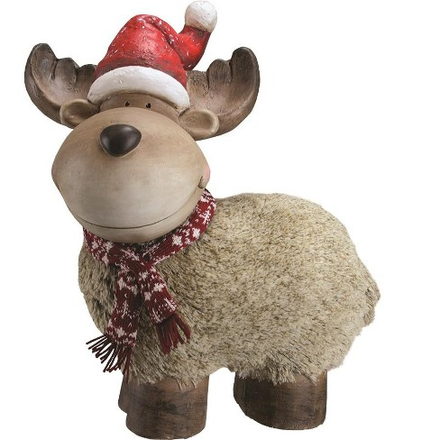 """Northlight 17.25"""" Brown and Red Whimsical Reindeer with Nordic Style Santa Hat Christmas Tabletop Decor - image 1 of 1"""