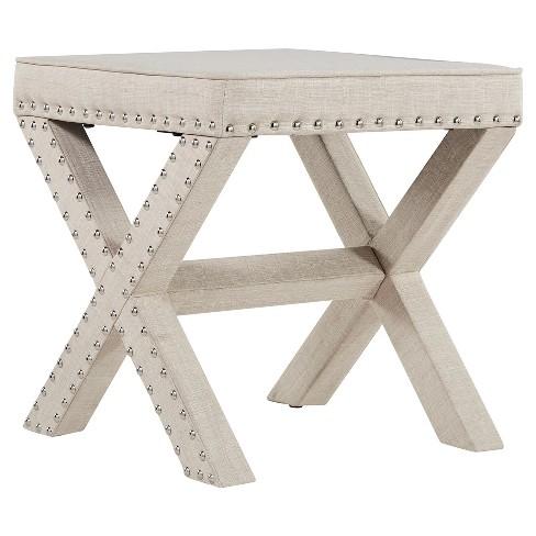 Rachel Nailhead Upholstered Stool - Inspire Q - image 1 of 4