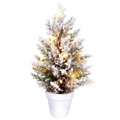 "Vickerman 14"" x 7"" Flocked Covington Artificial Christmas Tree, Battery Operated Warm White LED Lights"