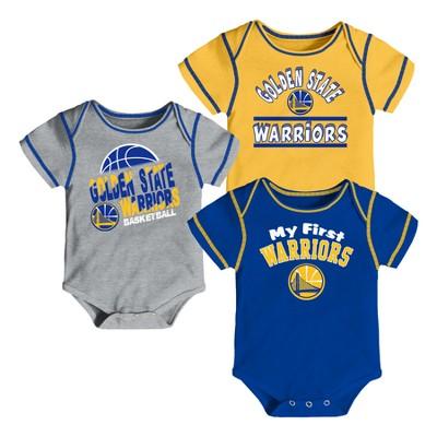 Golden State Warriors Boys' Rookie 3pk Body Suit Set 3-6M