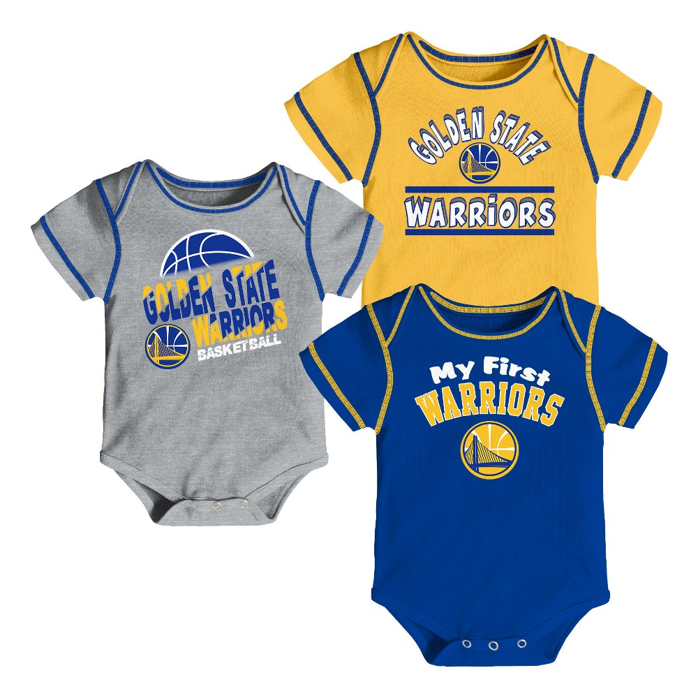 Golden State Warriors Boys' Rookie 3pk Body Suit Set 0-3M, Multicolored